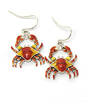 CRAB WITH CRYSTAL FISH HOOK EARRINGS