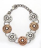 CRYSTAL CENTER MULTI BULLET DISK LINK BRACELET