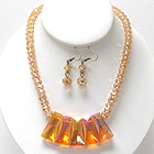 MULTI FACET GLASS BAR AND GLASS BALL CHAIN NECKLACE EARRING SET