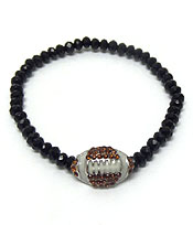 CRYSTAL FOOTBALL WITH BLACK BEADS BRACELET