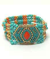 AZTEC DESIGN CASTING WITH SEED BEAD BRACELET