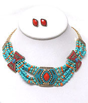 AZTEC DESIGN CASTING WITH SEED BEAD NECKLACE SET