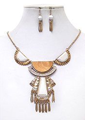 ACRYL ART DECO HALF DISK AND METAL TASSEL DROP NECKLACE SET