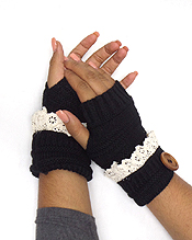 BUTTON AND LACE OPEN FINGER CROCHET GLOVES