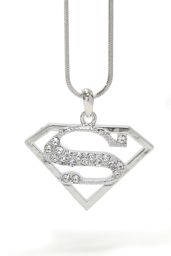 Wholesale Whitegold Plating Crystal Superman Symbol Necklace 335510