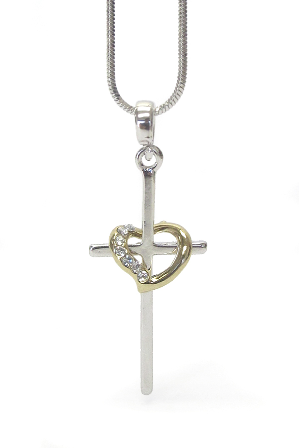 WHITEGOLD PLATING CRYSTAL STUD CROSS AND HEART NECKLACE
