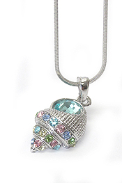 WHITEGOLD PLATING MULTI COLOR CRYSTAL TREMPET SHELL PENDANT NECKLACE