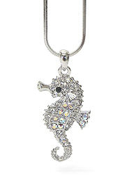 WHITEGOLD PLATING CRYSTAL SEAHORSE NECKLACE
