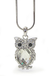 WHITEGOLD PLATING CRYSTAL OWL WITH OVAL GLASS PENDANT NECKLACE