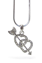 WHITEGOLD PLATING CRYSTAL CUPID HEART AND ARROW PENDANT NECKLACE