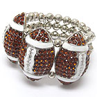 Wholesale Jewelry - CRYSTAL DECO TRIPLE FOOTBALL STRETCH BRACELET