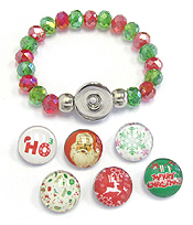 INTERCHANGEABLE 6 PIECE BUTTON AND STRETCH BRACELET - CHRISTMAS