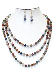 72 INCH EXTRA LONG SEMI PRECIOUS STONE AND BEADS NECKLACE SET