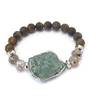 SILVER BURNISH FRAMED TURQUOISE AND STONE MIX STRETCH BRACELET