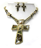 CRYSTAL AND EPOXT METAL ART CROSS PENDANT NECKLACE EARRING SET