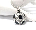 CRYSTAL STUD SOCCER BALL PENDANT NECKLACE