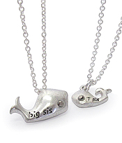 BIG SIS LIL SIS DOUBLE WHALE NECKLACE SET