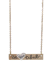 SCRATCH METAL BAR PENDANT NECKLACE - BE YOU TIFUL