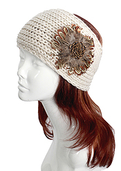 100% POLIESTERE FLOWER ACCENT KNIT HEADWRAP