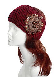 100% POLIESTER FLOWER ACCENT KNIT HEADWRAP