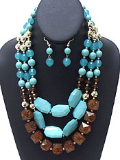 LAYER LINKED BEADS NECKLACE SET