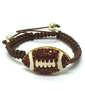FOOTBALL WITH STONE PULL TIE BRACELET