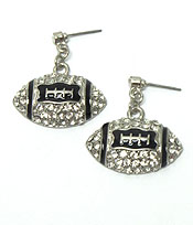 FOOTBALL WITH STONES FISH HOOK EARRINGS