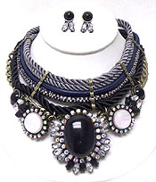 FIVE LAYER OF ROPE WITH LARGE PENDANT WITH CRYSTALS NECKLACE SET