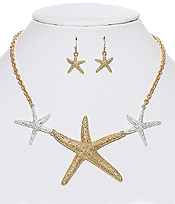 TEXTURED STARFISH LINK NECKLACE SET