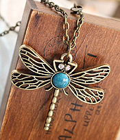 VINTAGE METAL DRAGONFLY PENDANT NECKLACE