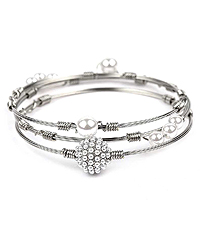 MULTI PEARL STACKABLE 3 WIRE BANGLE BRACELET SET
