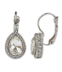 CRYSTAL AND FACET GLASS TEARDROP FRENCH CLIP EARRING
