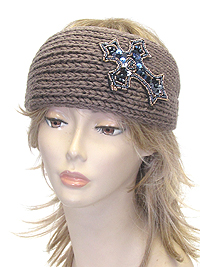 SEQUIN AND BEAD CROSS KNIT HEADWRAP