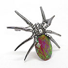 CRYSTAL AND ABALONE FINISH FACET GLASS BODY SPIDER BROOCH OR PIN