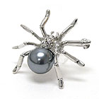 CRYSTAL AND PEARL BODY SPIDER BROOCH OR PIN