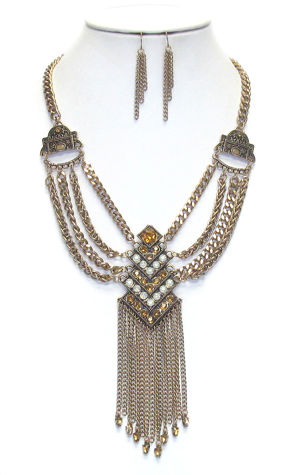 MULTI CHAIN LAYERED STATEMENT NECKLACE SET