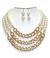 CHUNKY CHAIN AND PEARL LAYER STATEMENT NECKLACE SET
