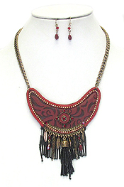ETHNIC STYLE SEED BEAD TASSEL STATEMENT NECKLACE SET