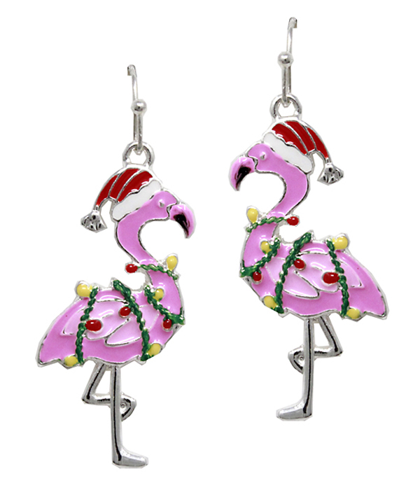 CHRISTMAS THEME EPOXY FLAMINGO EARRING