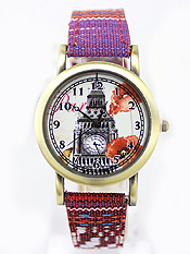 VINTAGE BIG BEN PRINT AND FABRIC BAND WATCH
