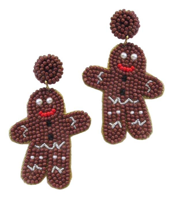 HANDMADE CHRISTMAS THEME MULTI SEEDBEAD EARRING - GINGERBREAD