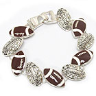 CRYSTAL DECO MULTI FOOTBALL LINK MAGNETIC CLASP BRACELET