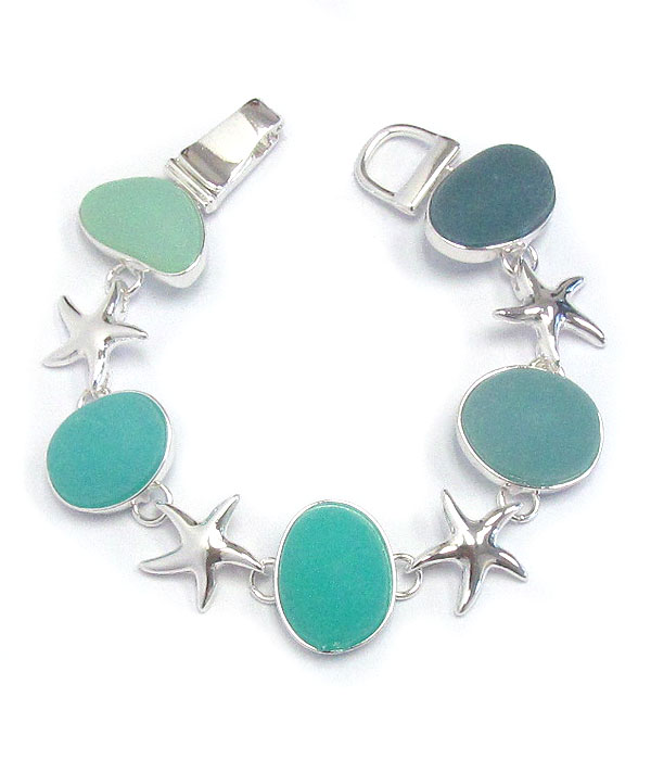 MIXED SEA GLASS MAGNETIC BRACELET - STARFISH