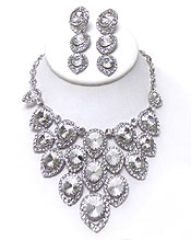 LUXURY CLASS VICTORIAN STYLE AND AUSTRIAN CRYSTAL GLASS DECO DROP  PARTY NECKLACE SET