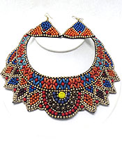 MULTI SEED BEADS HAND MADE BIB NECKLACE SET