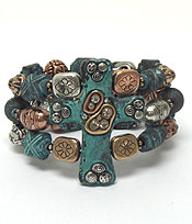 THREE LAYER BEADS AND STONES BRACELET