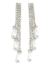 PEARL AND RHINESTONE 3 LAYER DROP EARRING