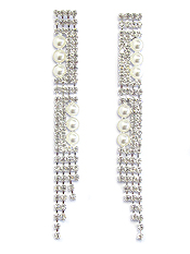 PEARL AND RHINESTONE 4 LAYER DROP EARRING