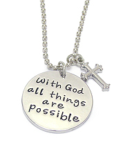 RELIGIOUS INSPIRATION MESSAGE PENDANT NECKLACE - WITH GOD ALL THINGS ARE POSSIBLE