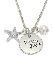SEALIFE INSPIRATION MESSAGE PENDANT NECKLACE - BEACH GIRL
